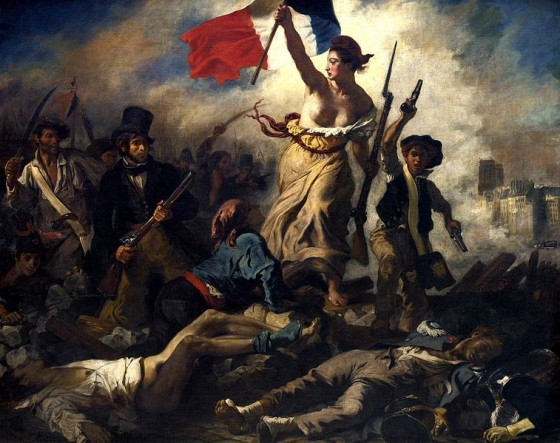 民衆を導く自由の女神(ドラクロワ作 1830年 ルーヴル美術館所蔵) フランス7月革命 レ・ミゼラブル ビクトル・ユーゴー